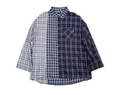 AJO AJOBYAJO Shirts Other Plaid Patterns Unisex Street Style Long Sleeves Cotton 3