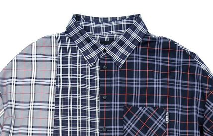 AJO AJOBYAJO Shirts Other Plaid Patterns Unisex Street Style Long Sleeves Cotton 5