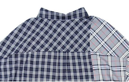 AJO AJOBYAJO Shirts Other Plaid Patterns Unisex Street Style Long Sleeves Cotton 9