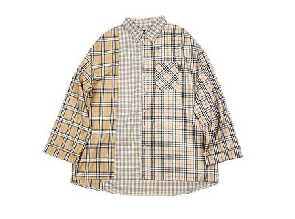 AJO AJOBYAJO Shirts Other Check Patterns Unisex Street Style Long Sleeves Cotton 11