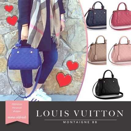 Louis Vuitton MONTAIGNE Monoglam 2WAY Plain Leather Elegant Style Handbags