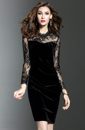 Tight Velvet Long Sleeves Plain Medium Dresses