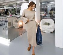 Casual Style Tight Boat Neck Long Sleeves Plain Long Dresses