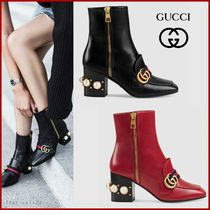 GUCCI Square Toe Casual Style Plain Leather Block Heels