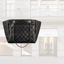 CHANEL Casual Style Calfskin Plain Totes