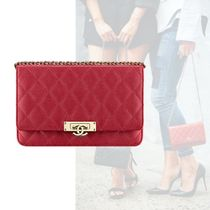 CHANEL Casual Style Calfskin Plain Clutches