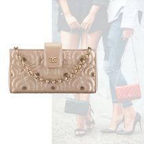 CHANEL Flower Patterns Casual Style Calfskin Clutches