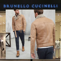 BRUNELLO CUCINELLI Blended Fabrics Plain Leather Biker Jackets