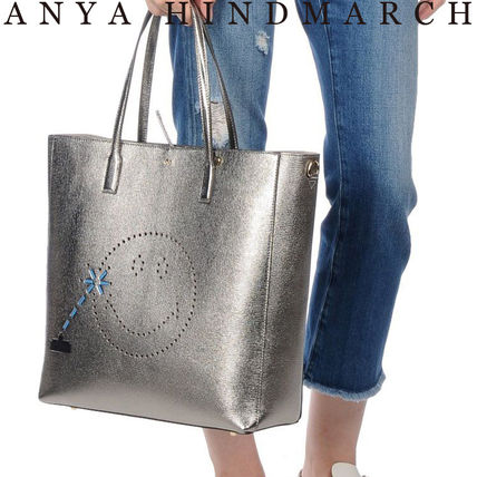 Casual Style Unisex A4 2WAY Plain Leather Totes