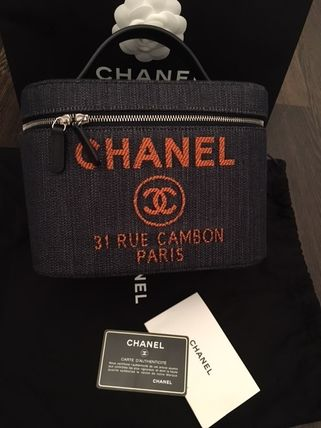 CHANEL CAMBON Logo Denim Casual Style Vanity Bags Bags