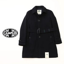 Wool Plain Long Peacoats Coats