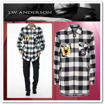 J W ANDERSON Gingham Long Sleeves Cotton Oversized Shirts
