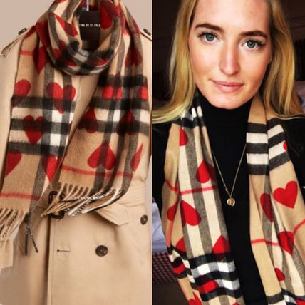 Burberry Other Check Patterns Heart Cashmere Heavy Scarves & Shawls