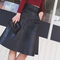 Flared Skirts Faux Fur Plain Medium Midi Elegant Style