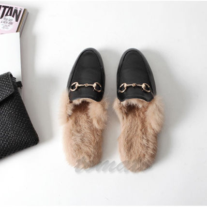 Plain Toe Casual Style Faux Fur Plain Slippers