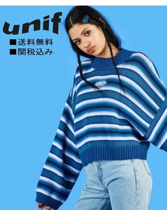 Cable Knit Stripes Casual Style Long Sleeves Cotton Medium