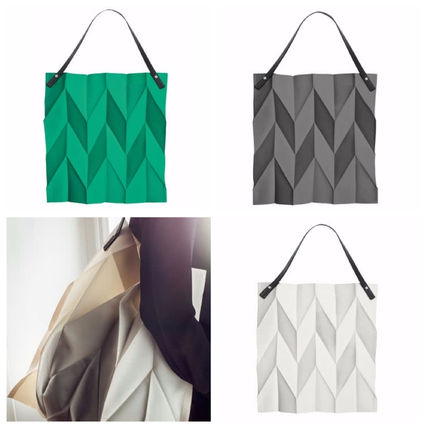 Casual Style Blended Fabrics Collaboration Plain Totes