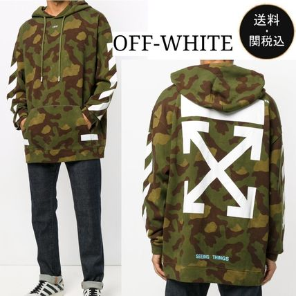 Off-White Pullovers Camouflage Long Sleeves Cotton Khaki Hoodies