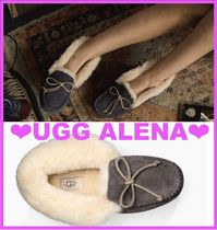 UGG Australia ALENA Moccasin Casual Style Sheepskin Street Style Slip-On Shoes