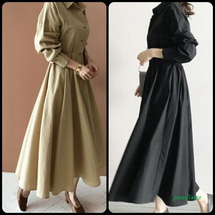 NANING9 V-Neck Long Sleeves Cotton Long Shirt Dresses Elegant Style