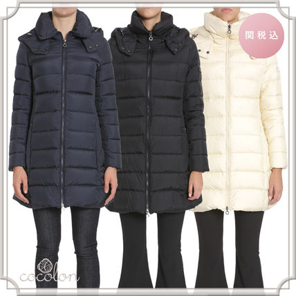 Plain Long Elegant Style Down Jackets