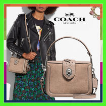 Coach Stone Grey With Painted Tea Rose Tooling Page Shoulder Bag