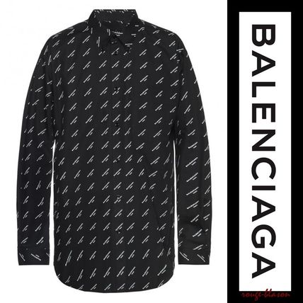 BALENCIAGA Shirts Long Sleeves Plain Cotton Oversized Shirts 2