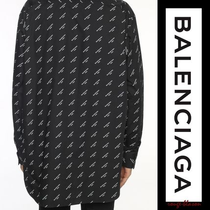 BALENCIAGA Shirts Long Sleeves Plain Cotton Oversized Shirts 4
