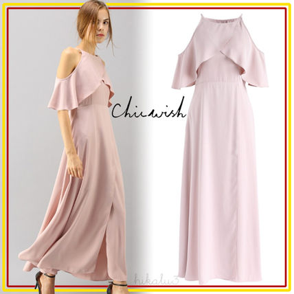 Flared Plain Long Elegant Style Dresses