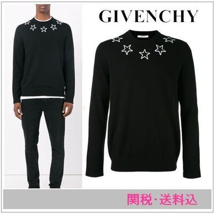 GIVENCHY Crew Neck Pullovers Star Unisex Wool Long Sleeves Hoodies