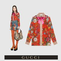 GUCCI Flower Patterns Silk Long Sleeves Other Animal Patterns