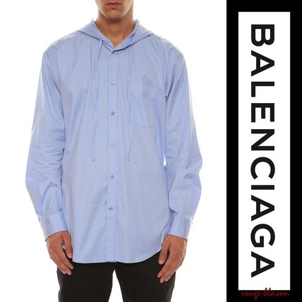 BALENCIAGA Shirts Stripes Unisex Long Sleeves Plain Cotton Shirts 2
