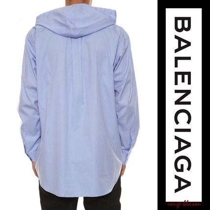BALENCIAGA Shirts Stripes Unisex Long Sleeves Plain Cotton Shirts 3