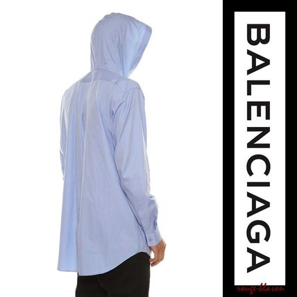 BALENCIAGA Shirts Stripes Unisex Long Sleeves Plain Cotton Shirts