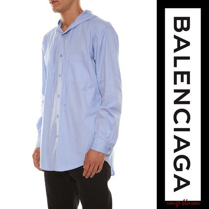 BALENCIAGA Shirts Stripes Unisex Long Sleeves Plain Cotton Shirts 4