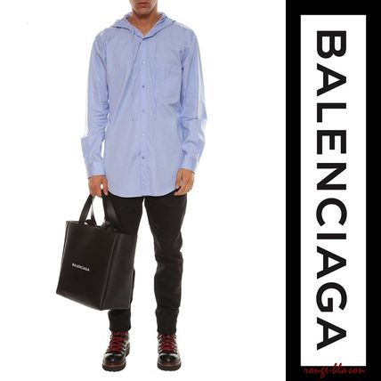 BALENCIAGA Shirts Stripes Unisex Long Sleeves Plain Cotton Shirts 5