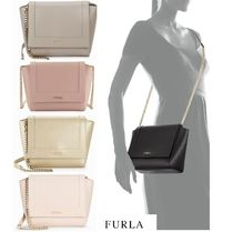 FURLA Casual Style 2WAY Plain Leather Shoulder Bags
