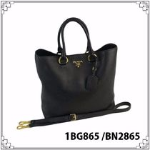 PRADA A4 2WAY Plain Leather Office Style Totes