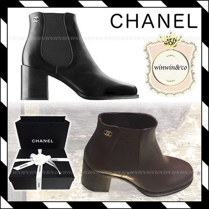 CHANEL ICON Plain Toe Casual Style Plain Block Heels Chelsea Boots