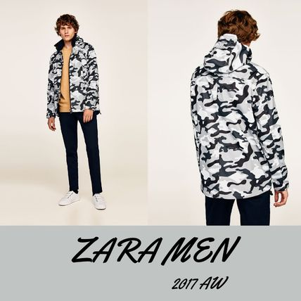 ZARA Camouflage Street Style Bi-color Long Sleeves Shirts