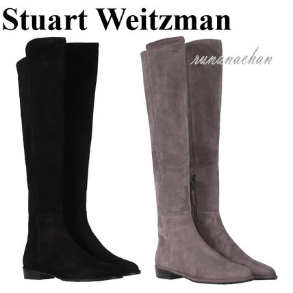 Stuart Weitzman Round Toe Casual Style Plain Leather Over-the-Knee Boots