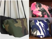 HERVE CHAPELIER Camouflage Casual Style Canvas Shoulder Bags