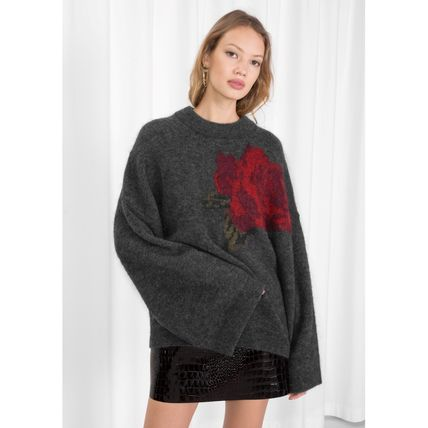 & Other Stories Crew Neck Flower Patterns Casual Style Wool Oversized