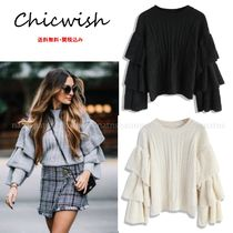 Chicwish Crew Neck Cable Knit Casual Style Plain Puff Sleeves