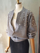 Casual Style Plain Medium MA-1 With Jewels Bomber Jackets