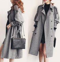 Glen Patterns Long Office Style Trench Coats