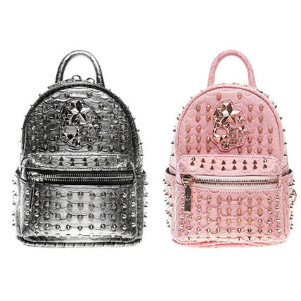 Casual Style Studded Backpacks