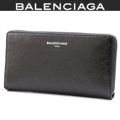 BALENCIAGA Unisex Plain Leather Long Wallets