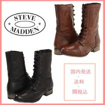 Steve Madden Lace-up Casual Style Leather Lace-up Boots