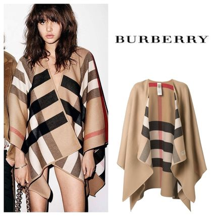 Burberry Other Check Patterns Wool Elegant Style Ponchos & Capes